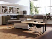 Идеи: черно-белые кухни с элементами из дерева